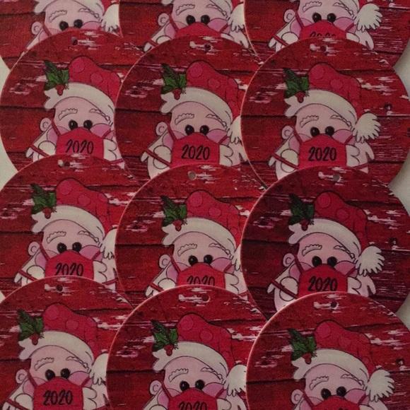 (12) 2020 Christmas Ornament Santa Wearing Masks